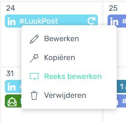 Rechtermuisknop Contentkalender